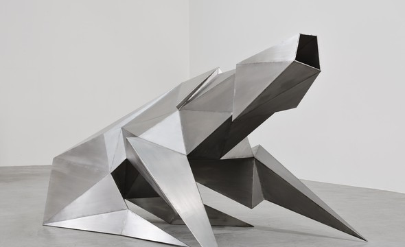 Lynn Chadwick (1990), welded stainless steel, 122 x 142 x 315 cm courtesy of Blain Southern