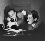 Henri Cartier-Bresson - From left to right - French publisher Jérôme LINDON and French film director and writer Alain ROBBE-GRILLET - 1961